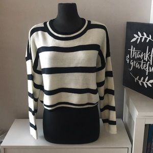 Black and white wide crop sweater